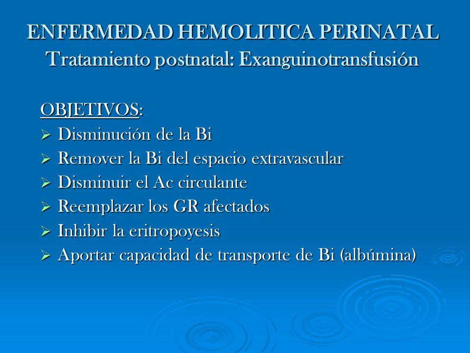 ENFERMEDAD HEMOLITICA PERINATAL Tratamiento postnatal: Exanguinotransfusión