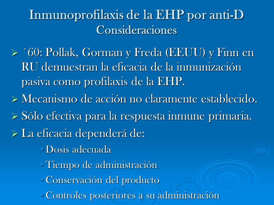 Inmunoprofilaxis de la EHP por anti-D Consideraciones