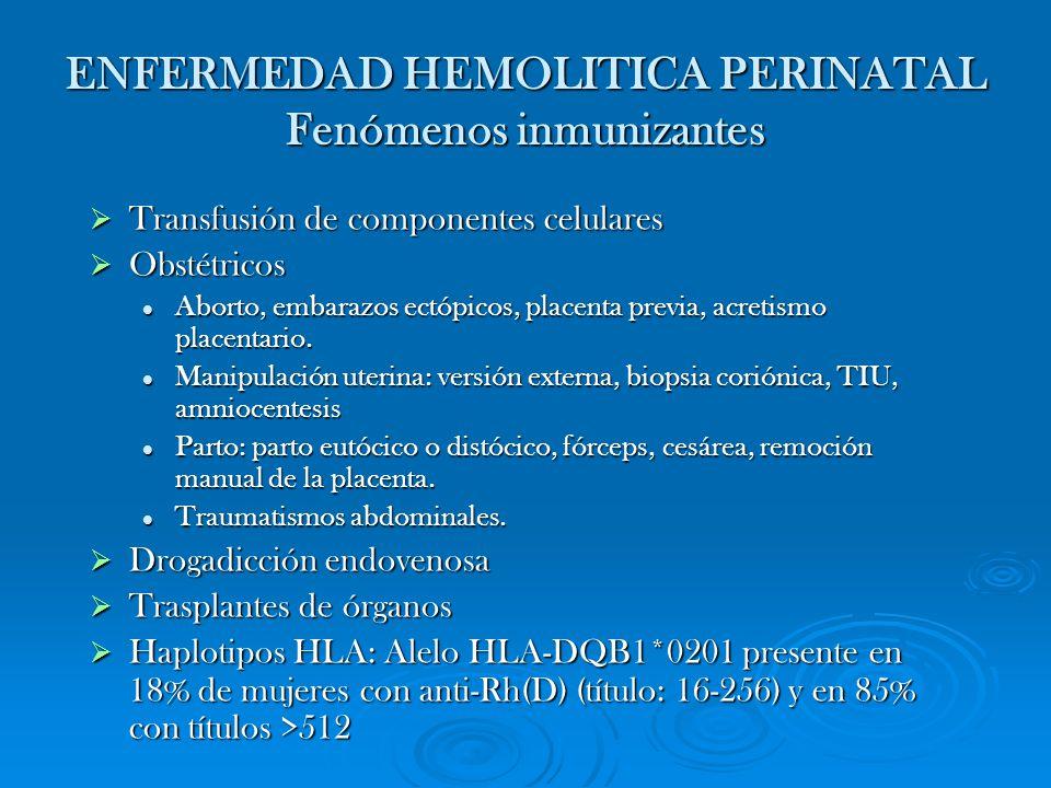ENFERMEDAD HEMOLITICA PERINATAL Fenómenos inmunizantes