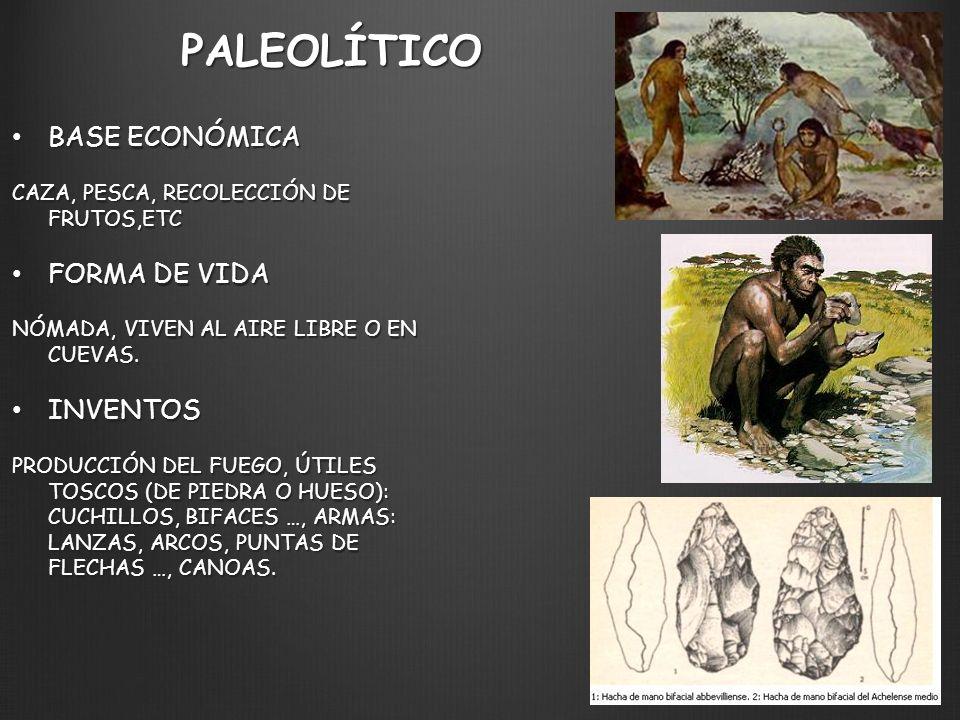 PALEOLÍTICO BASE ECONÓMICA FORMA DE VIDA INVENTOS