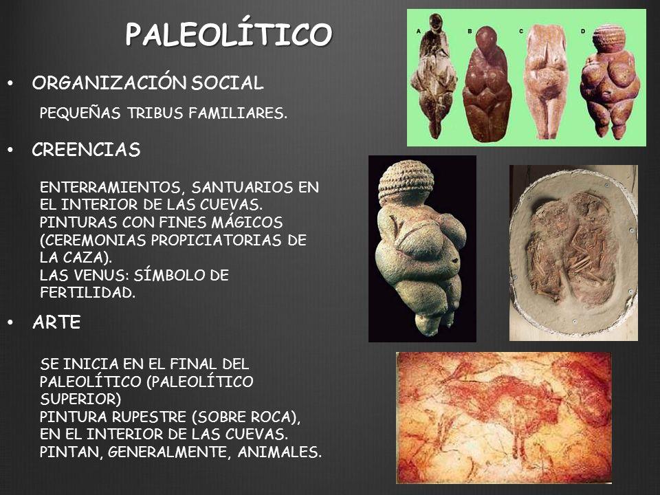 PALEOLÍTICO ORGANIZACIÓN SOCIAL CREENCIAS ARTE