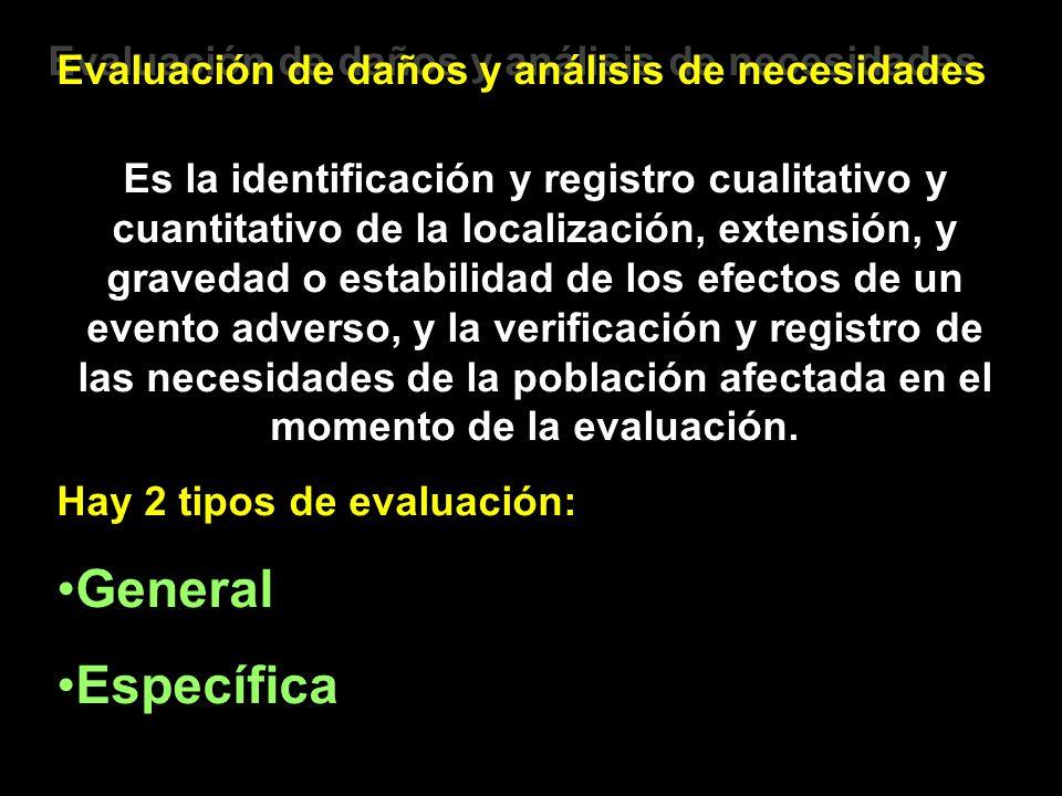 General Específica Evaluación de daños y análisis de necesidades
