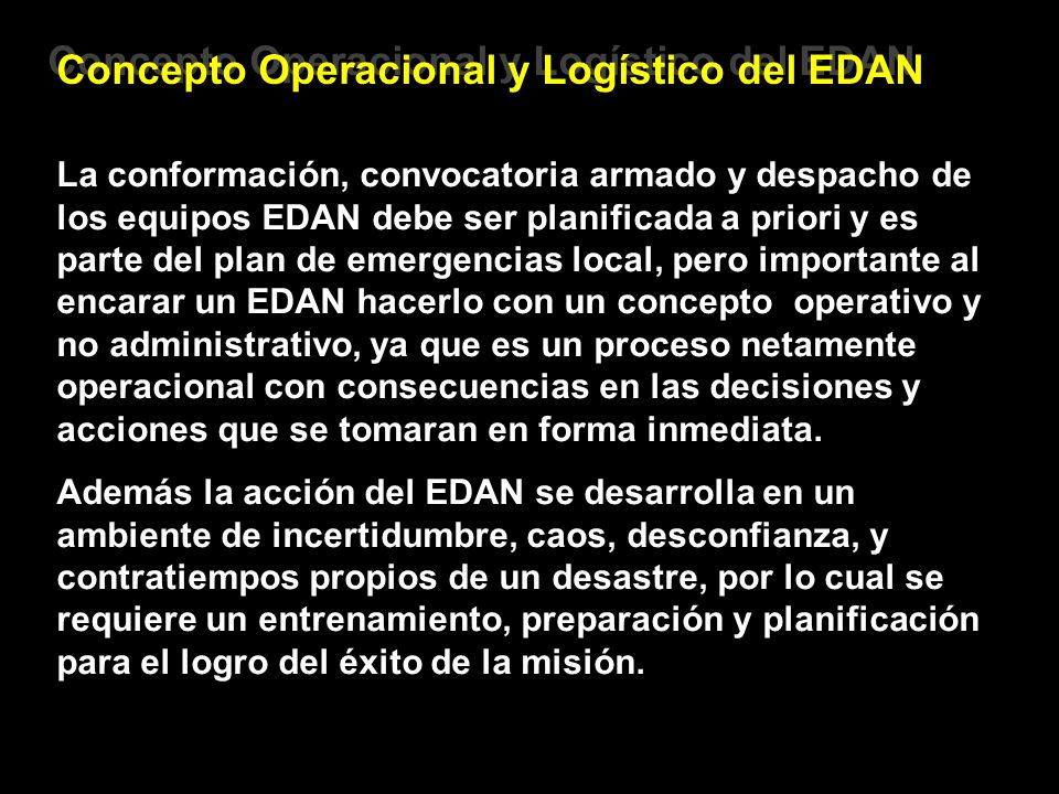 Concepto Operacional y Logístico del EDAN