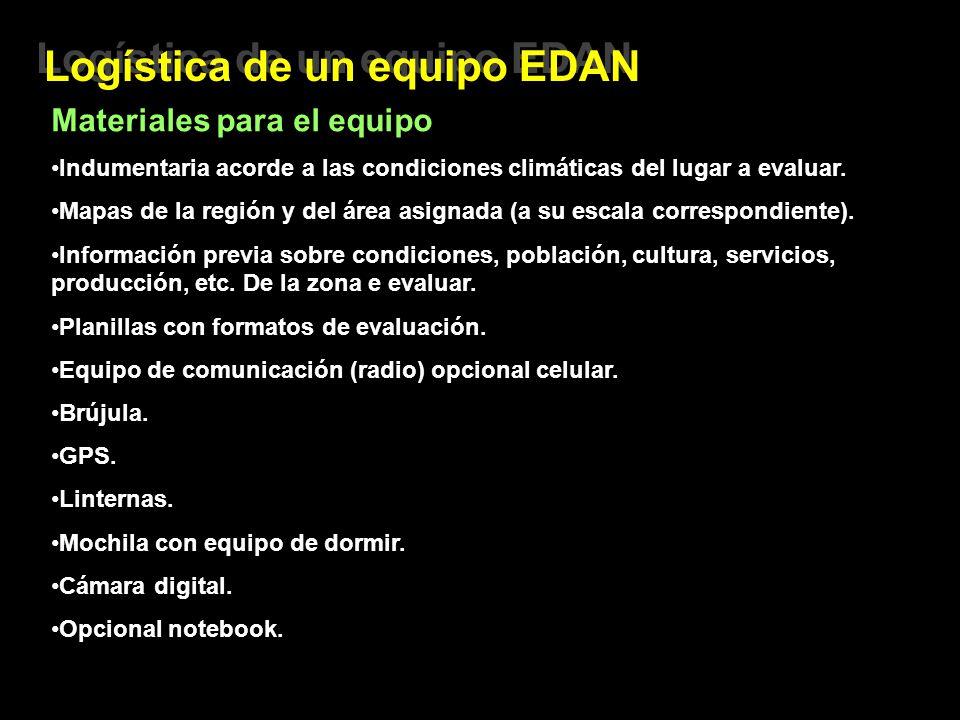 Logística de un equipo EDAN