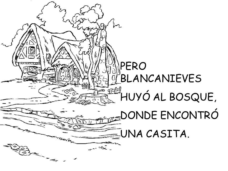 PERO BLANCANIEVES HUYÓ AL BOSQUE, DONDE ENCONTRÓ UNA CASITA.