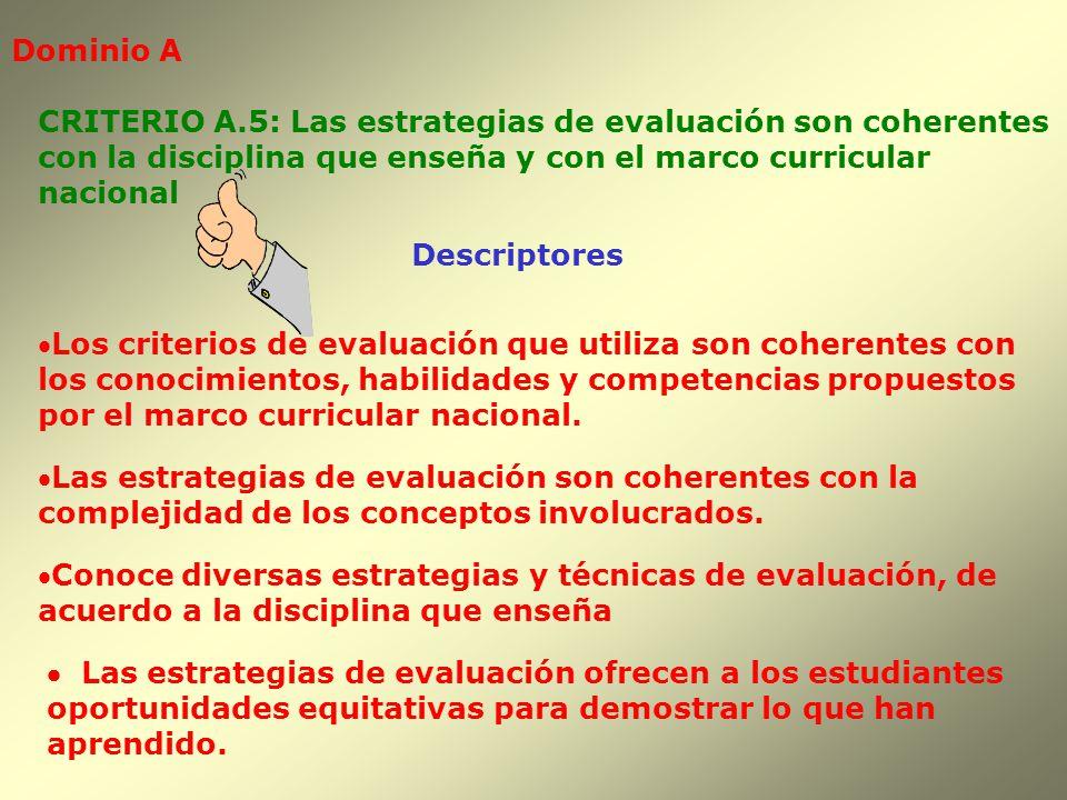 Dominio A CRITERIO A.5: Las estrategias de evaluación son coherentes. con la disciplina que enseña y con el marco curricular.