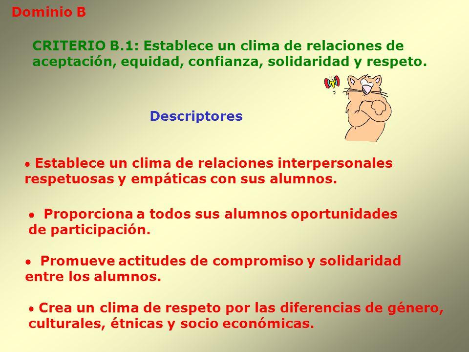 Dominio B CRITERIO B.1: Establece un clima de relaciones de. aceptación, equidad, confianza, solidaridad y respeto.