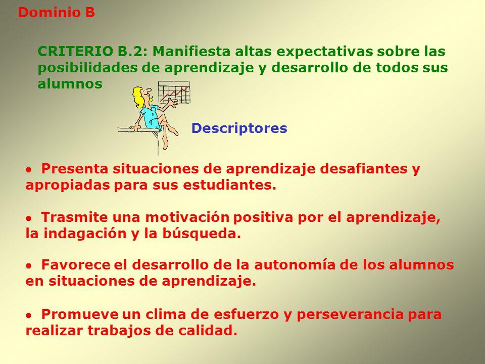 Dominio B CRITERIO B.2: Manifiesta altas expectativas sobre las. posibilidades de aprendizaje y desarrollo de todos sus.