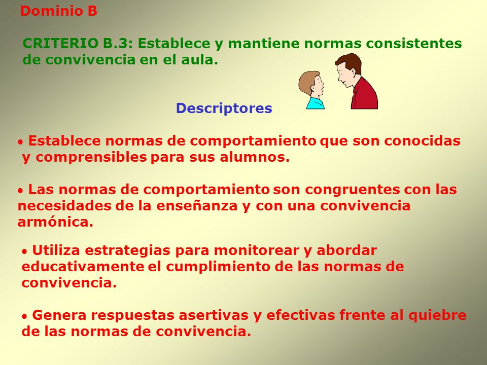 Dominio B CRITERIO B.3: Establece y mantiene normas consistentes. de convivencia en el aula. Descriptores.