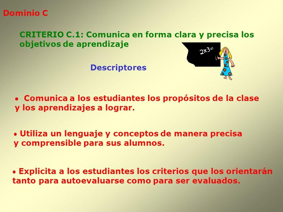 Dominio C CRITERIO C.1: Comunica en forma clara y precisa los. objetivos de aprendizaje. Descriptores.