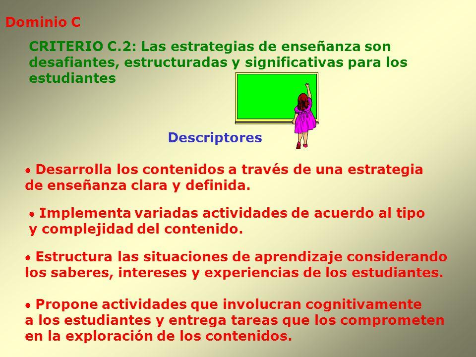 Dominio C CRITERIO C.2: Las estrategias de enseñanza son. desafiantes, estructuradas y significativas para los.