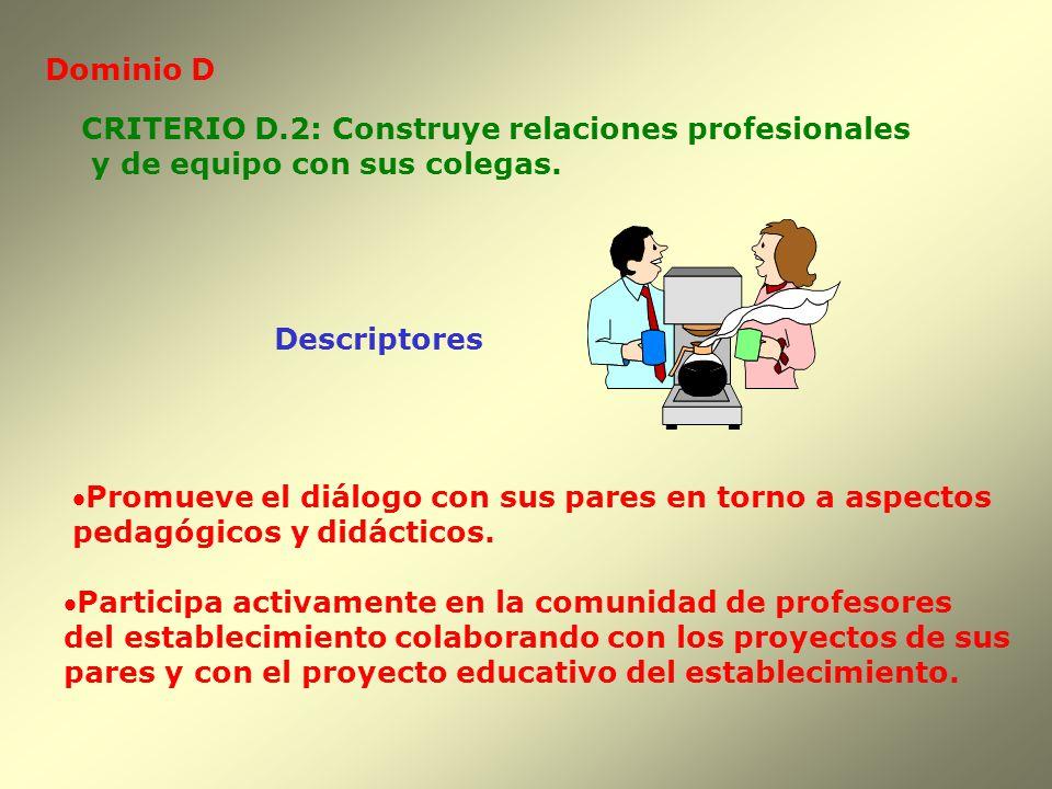 Dominio D CRITERIO D.2: Construye relaciones profesionales. y de equipo con sus colegas. Descriptores.