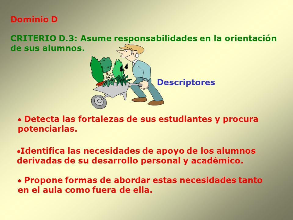 Dominio D CRITERIO D.3: Asume responsabilidades en la orientación. de sus alumnos. Descriptores.