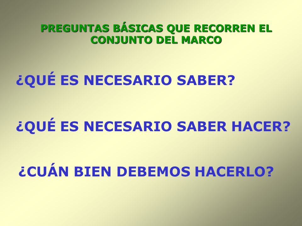 PREGUNTAS BÁSICAS QUE RECORREN EL CONJUNTO DEL MARCO
