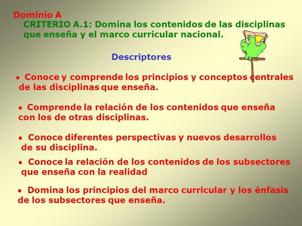 Dominio A CRITERIO A.1: Domina los contenidos de las disciplinas