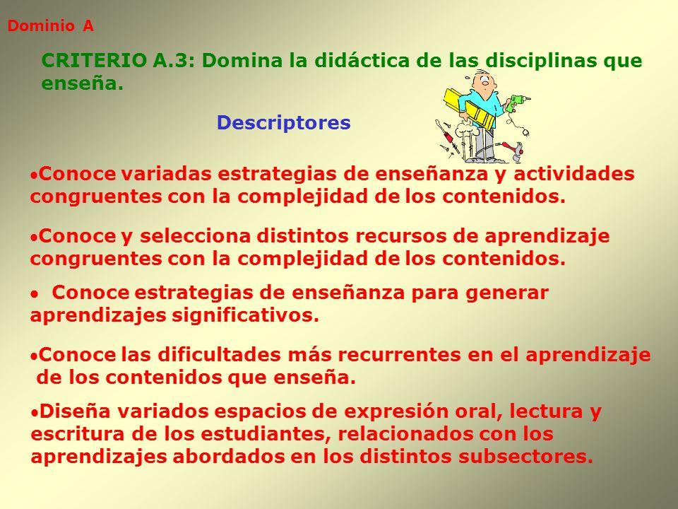 CRITERIO A.3: Domina la didáctica de las disciplinas que enseña.