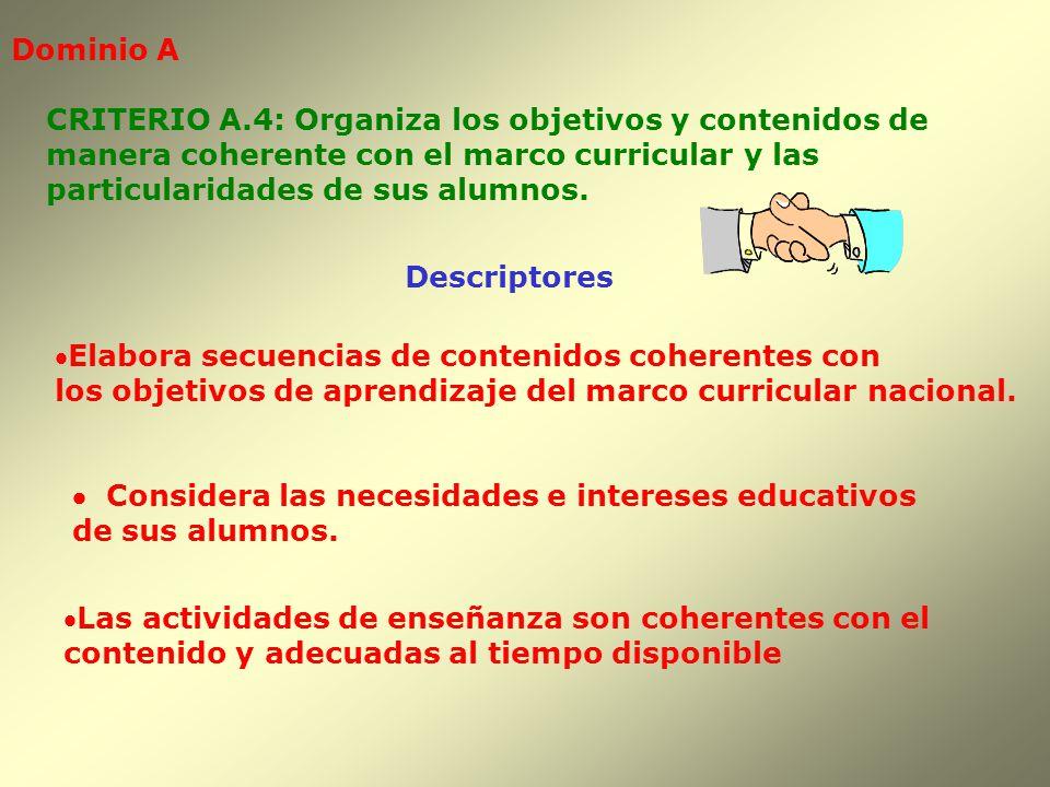 Dominio A CRITERIO A.4: Organiza los objetivos y contenidos de. manera coherente con el marco curricular y las.
