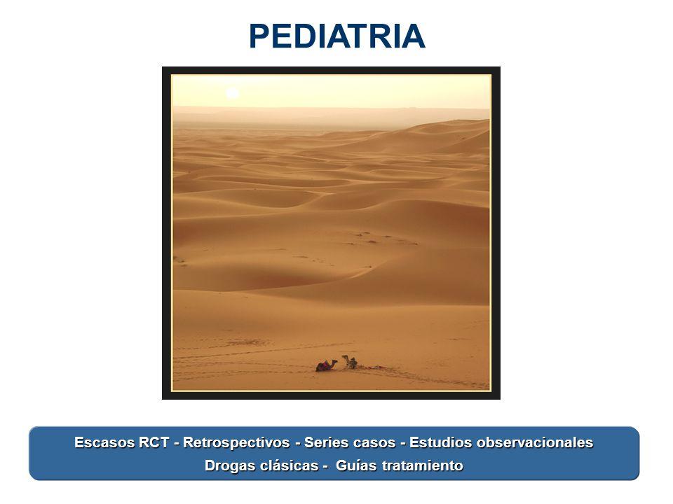 PEDIATRIA Animar texto. Escasos RCT - Retrospectivos - Series casos - Estudios observacionales.