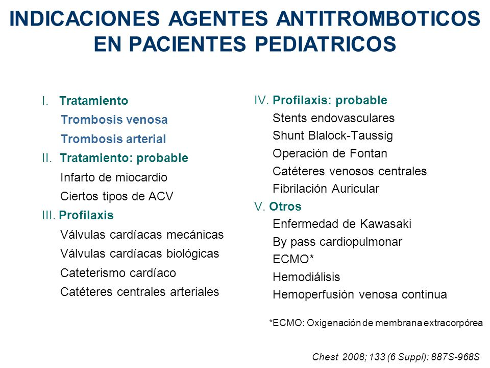 INDICACIONES AGENTES ANTITROMBOTICOS EN PACIENTES PEDIATRICOS