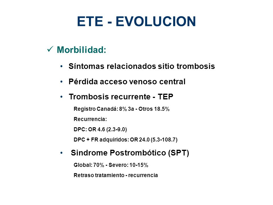 ETE - EVOLUCION Morbilidad: Síntomas relacionados sitio trombosis