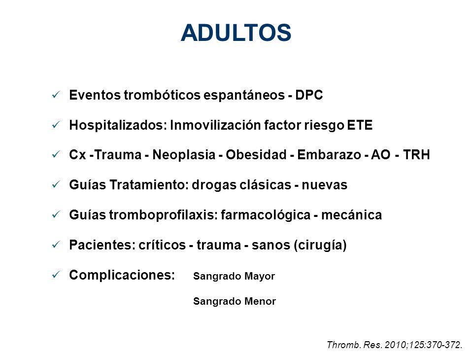 ADULTOS Eventos trombóticos espantáneos - DPC
