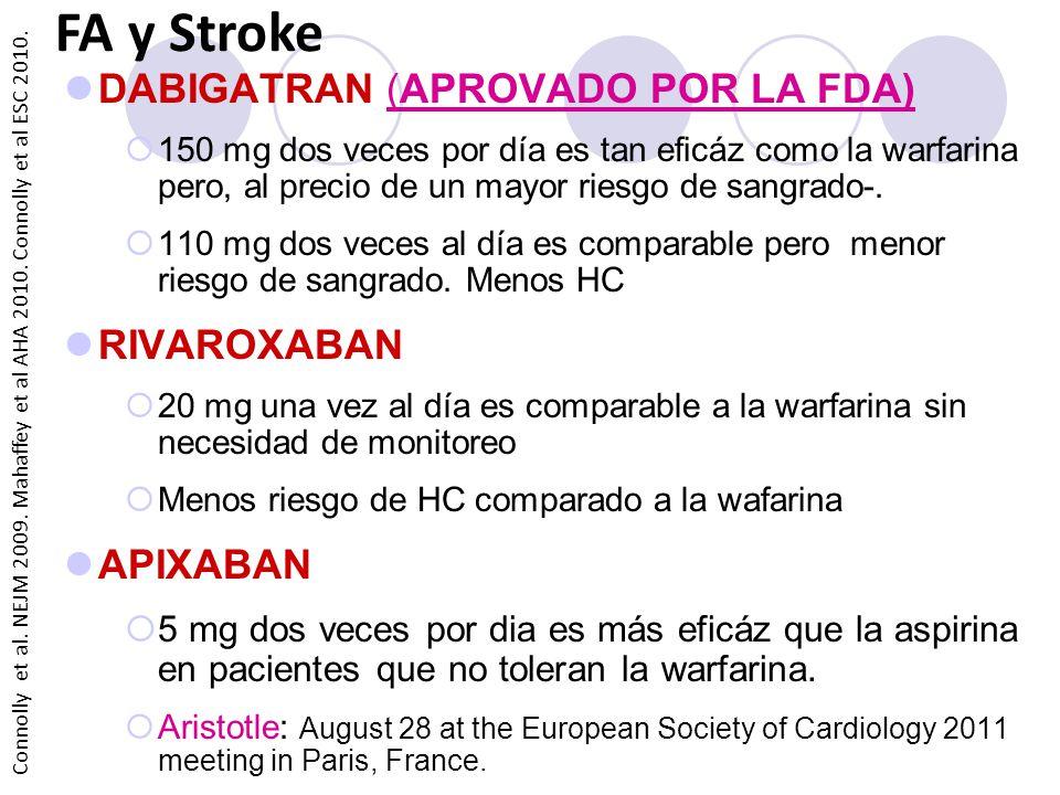 FA y Stroke DABIGATRAN (APROVADO POR LA FDA) RIVAROXABAN APIXABAN