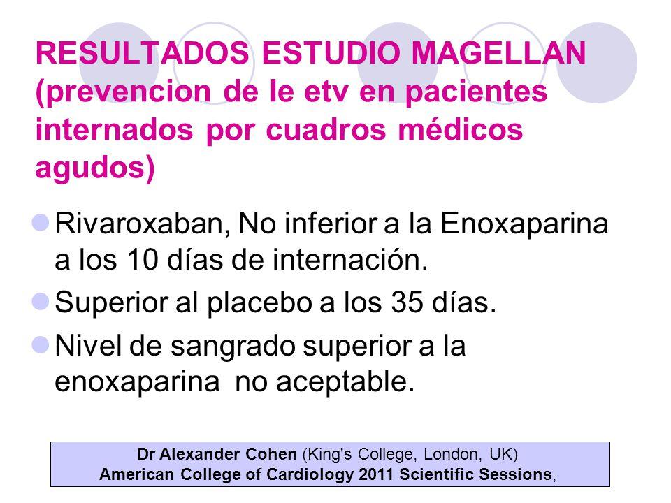 RESULTADOS ESTUDIO MAGELLAN (prevencion de le etv en pacientes internados por cuadros médicos agudos)
