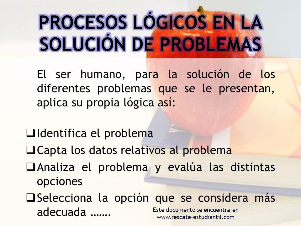 PROCESOS LÓGICOS EN LA SOLUCIÓN DE PROBLEMAS