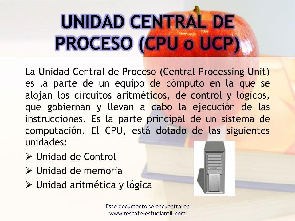 UNIDAD CENTRAL DE PROCESO (CPU o UCP)