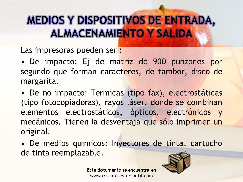 MEDIOS Y DISPOSITIVOS DE ENTRADA, ALMACENAMIENTO Y SALIDA