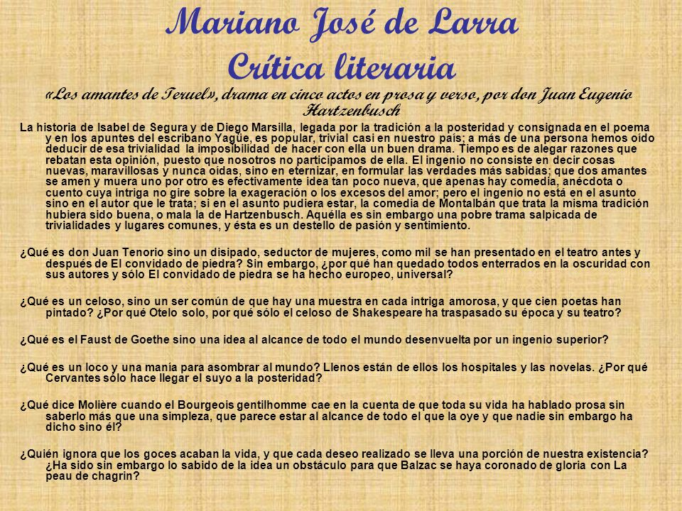 Mariano José de Larra Crítica literaria