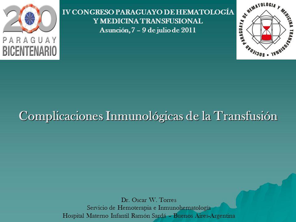 Complicaciones Inmunológicas de la Transfusión