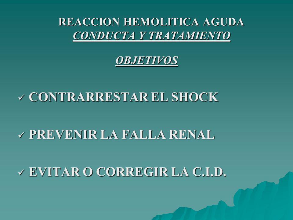 REACCION HEMOLITICA AGUDA CONDUCTA Y TRATAMIENTO