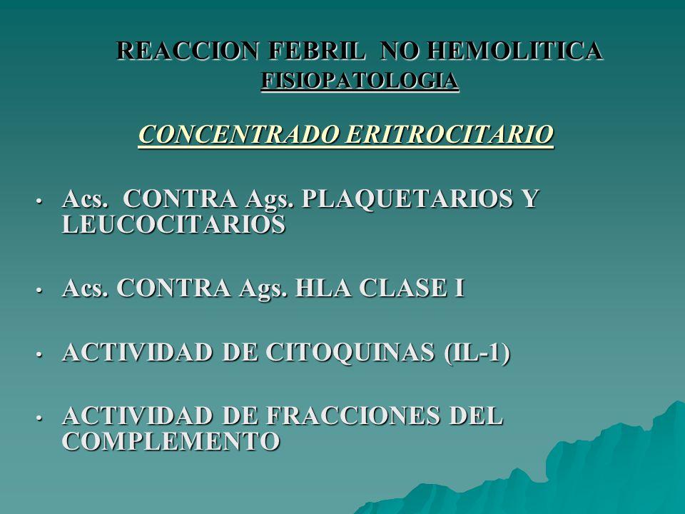 REACCION FEBRIL NO HEMOLITICA FISIOPATOLOGIA