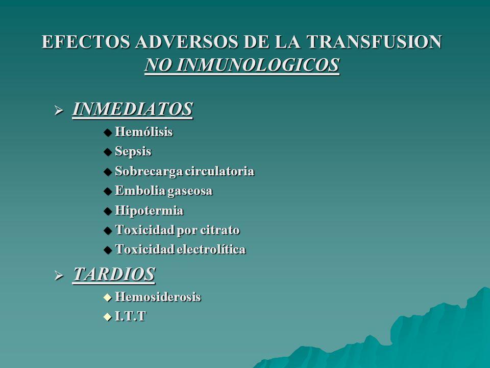 EFECTOS ADVERSOS DE LA TRANSFUSION NO INMUNOLOGICOS