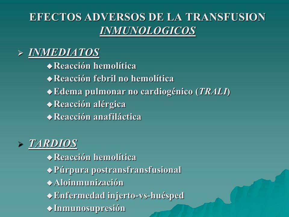 EFECTOS ADVERSOS DE LA TRANSFUSION INMUNOLOGICOS