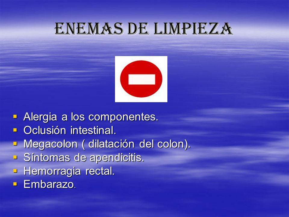 ENEMAS DE LIMPIEZA Alergia a los componentes. Oclusión intestinal.