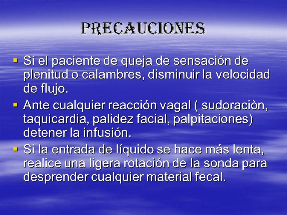 PRECAUCIONES Si el paciente de queja de sensación de plenitud o calambres, disminuir la velocidad de flujo.