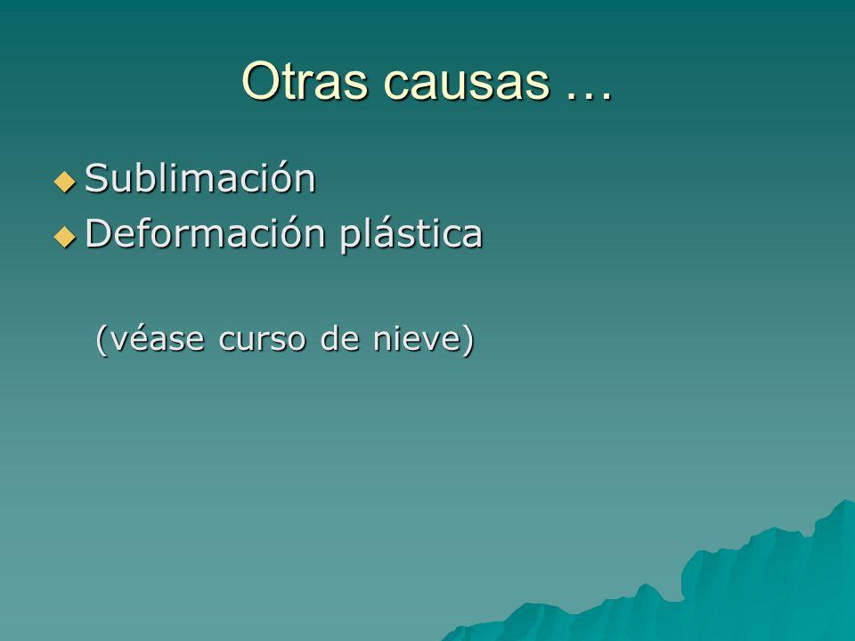 Otras causas … Sublimación Deformación plástica (véase curso de nieve)