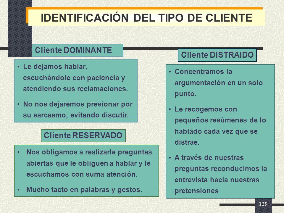 IDENTIFICACIÓN DEL TIPO DE CLIENTE
