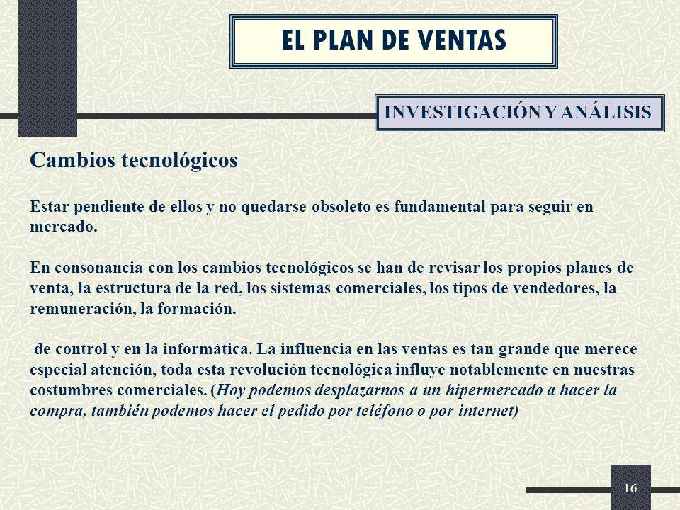 EL PLAN DE VENTAS Cambios tecnológicos INVESTIGACIÓN Y ANÁLISIS