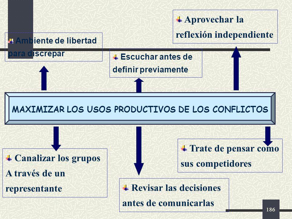 MAXIMIZAR LOS USOS PRODUCTIVOS DE LOS CONFLICTOS