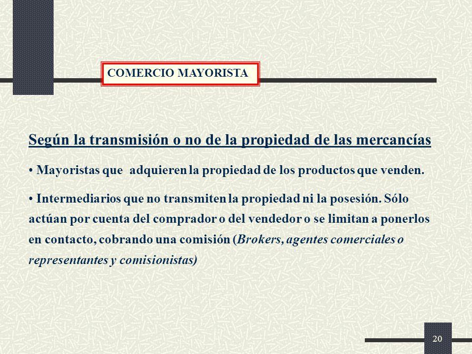 Según la transmisión o no de la propiedad de las mercancías