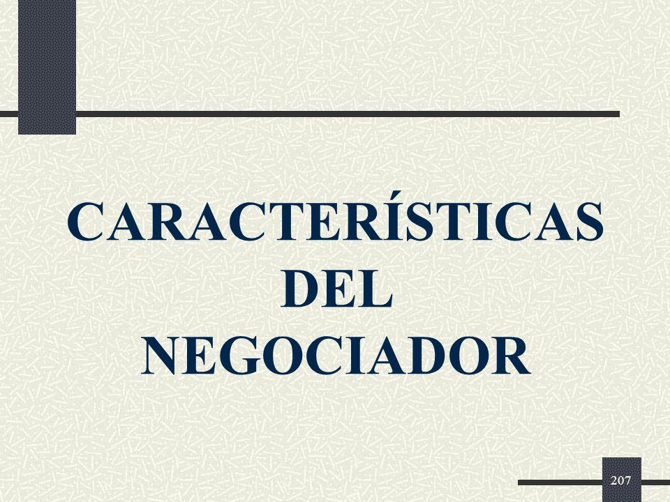 CARACTERÍSTICAS DEL NEGOCIADOR