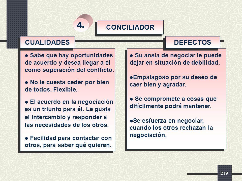 4. CONCILIADOR CUALIDADES DEFECTOS Su ansia de negociar le puede