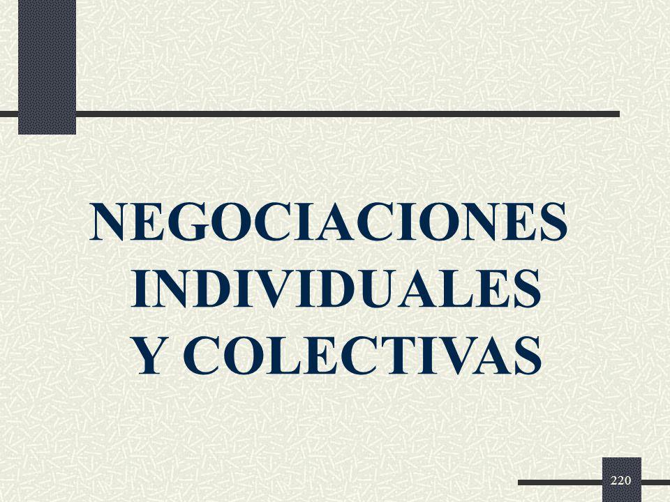 NEGOCIACIONES INDIVIDUALES Y COLECTIVAS