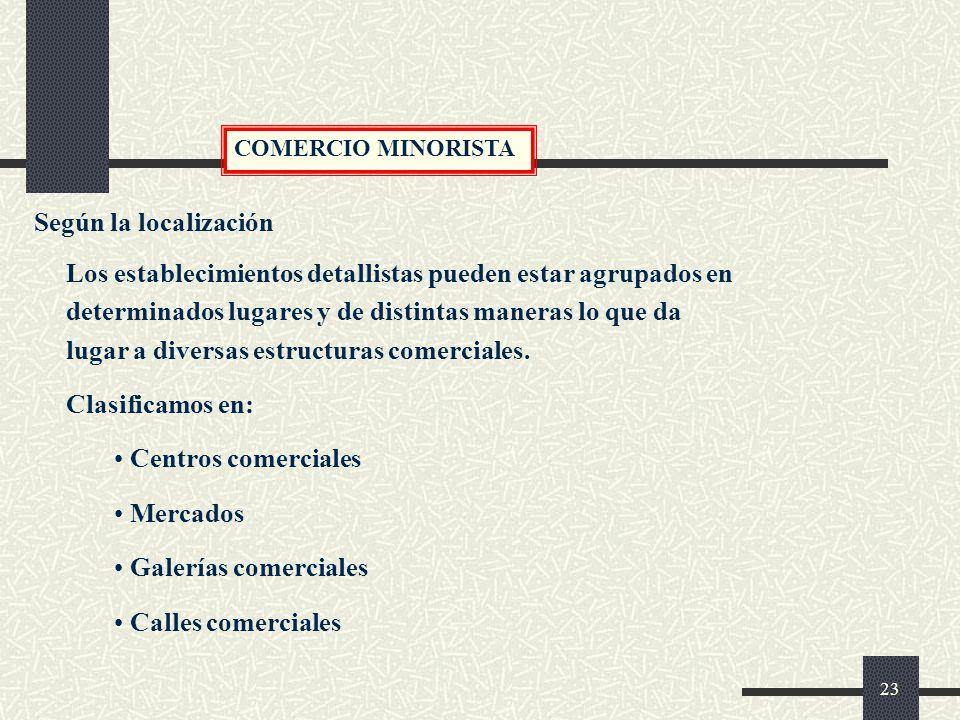 COMERCIO MINORISTA Según la localización.