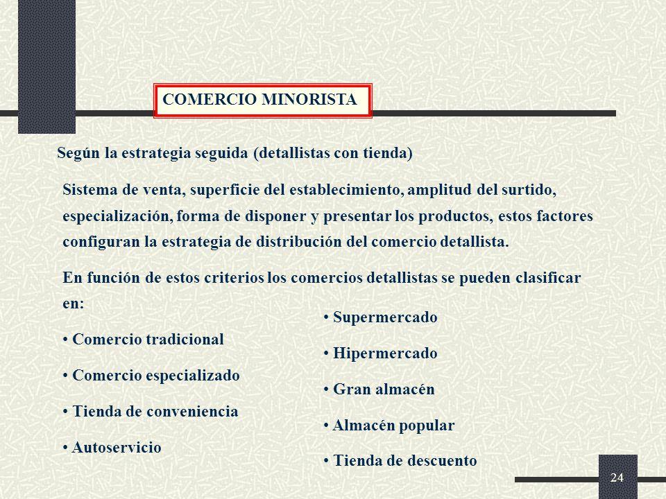 COMERCIO MINORISTA Según la estrategia seguida (detallistas con tienda)