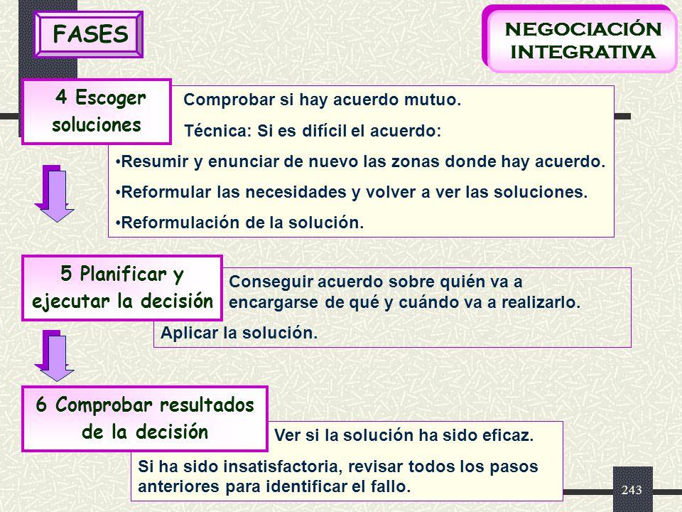 FASES NEGOCIACIÓN INTEGRATIVA 4 Escoger soluciones