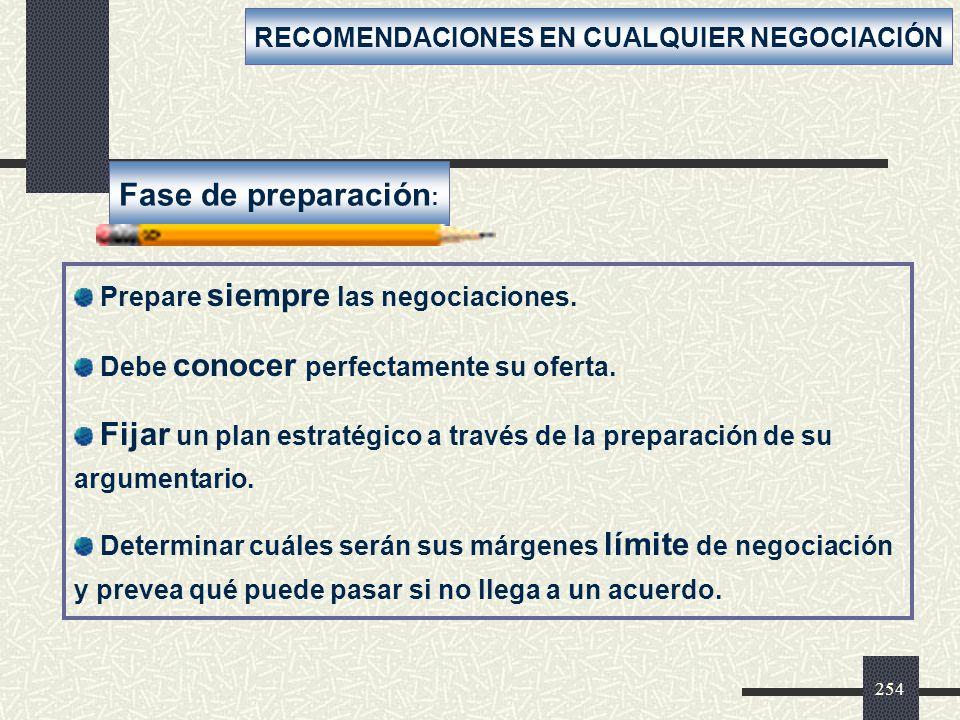 RECOMENDACIONES EN CUALQUIER NEGOCIACIÓN
